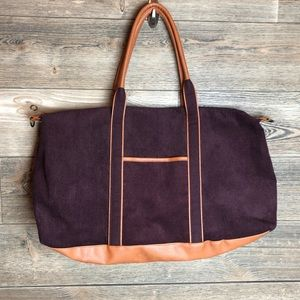 DSW Corduroy and faux leather tote bag